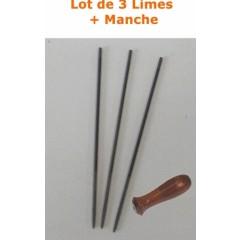 LIME52 - Lot de 3 Limes 5,2mm pour affutage de chaine de tronconneuse + Manche