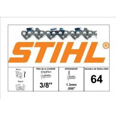"""36500030064 - Chaîne de tronçonneuse STIHL 3/8"""" - 1.3mm - 64 Entraineurs"""