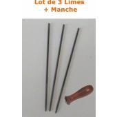 LIME48 - Lot de 3 Limes 4,8mm pour affutage de chaine de tronconneuse + Manche